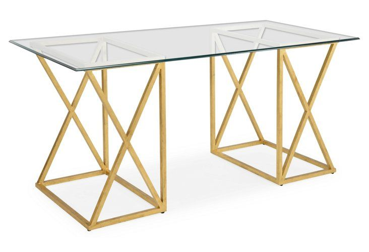 This Modern Gold And Glass Desk Is So Glamorous Trestle Desk Glass Top Desk Glass Desk