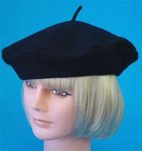 Hat French Beret wool black..My Favorite♥