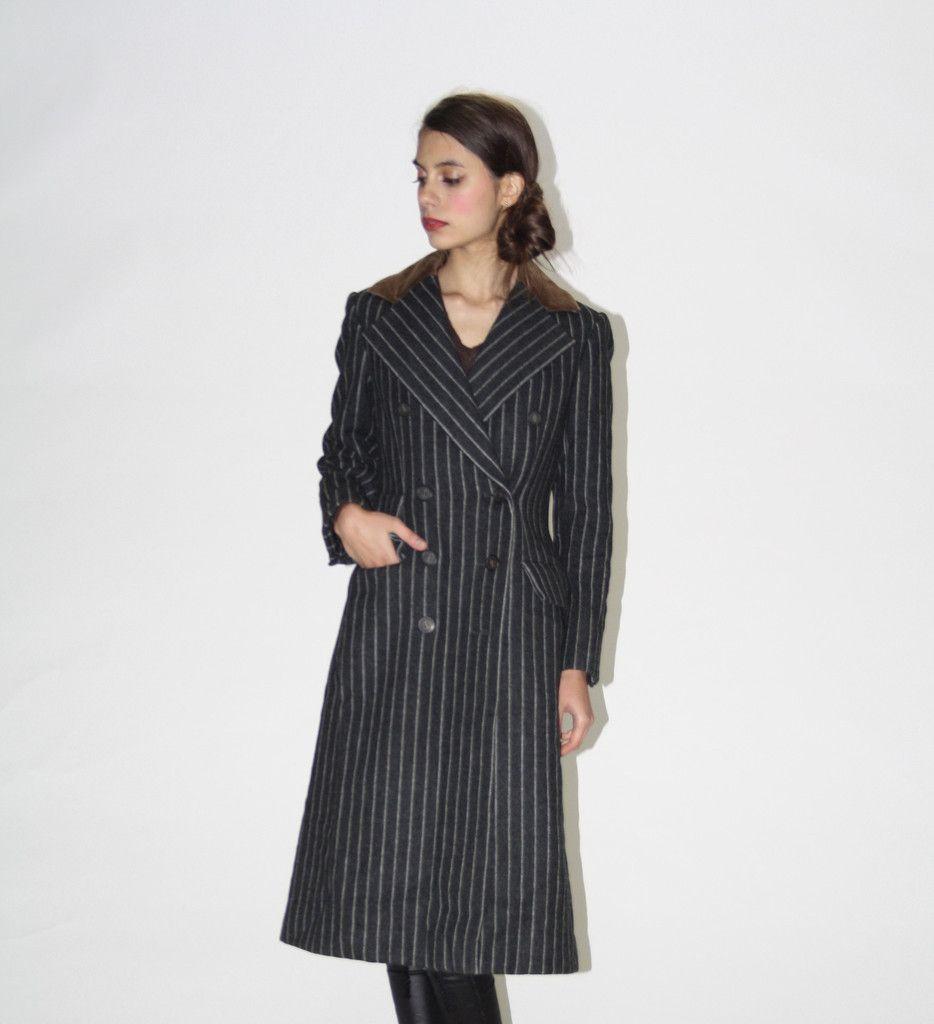 1980s Vintage Designer Bill Blass Pinstriped Coat