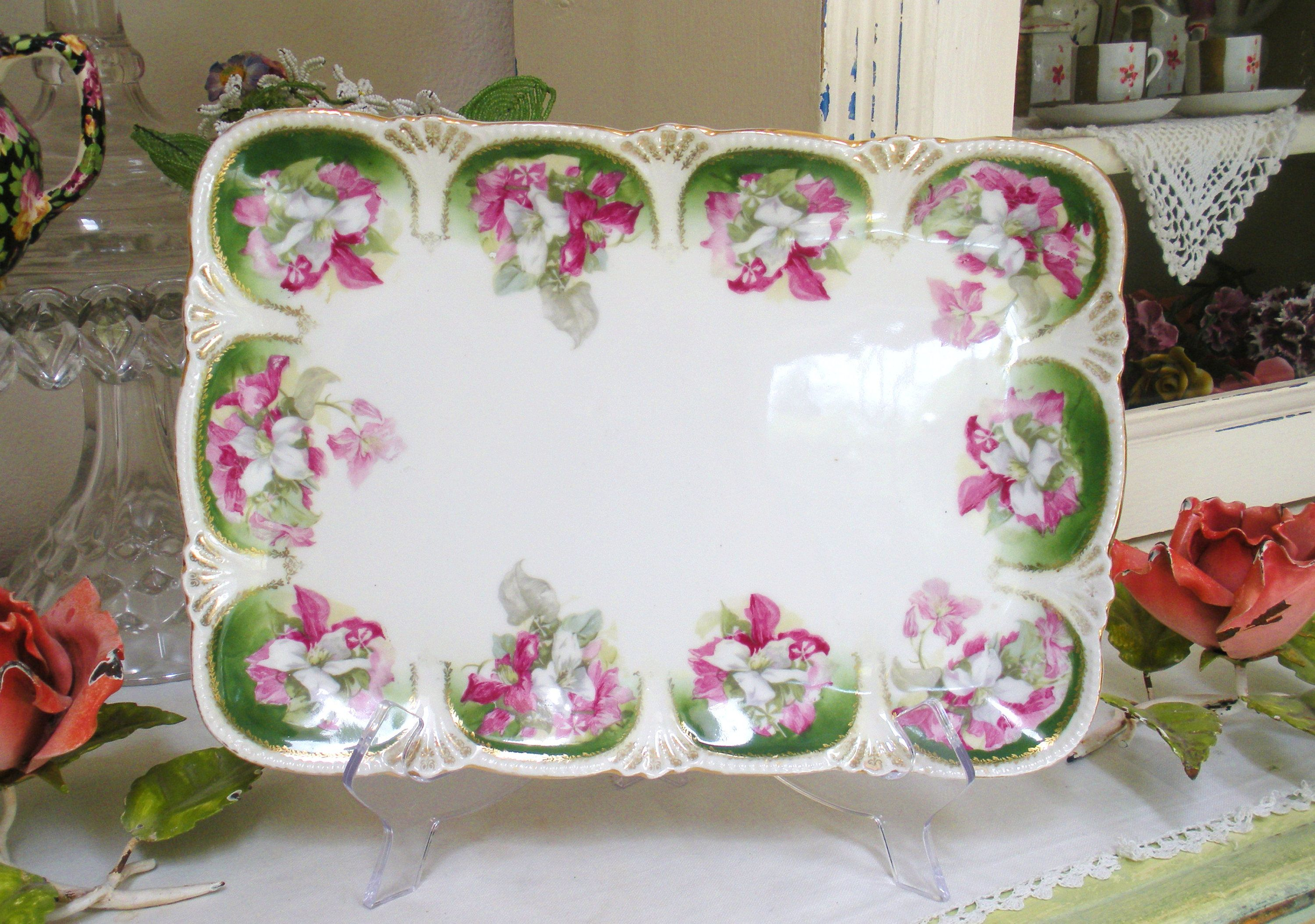Antique Austria DRESSER VANITY TRAY Porcelain Rare Clematis Flowers Vintage by WhiteSwanAntiques on Etsy