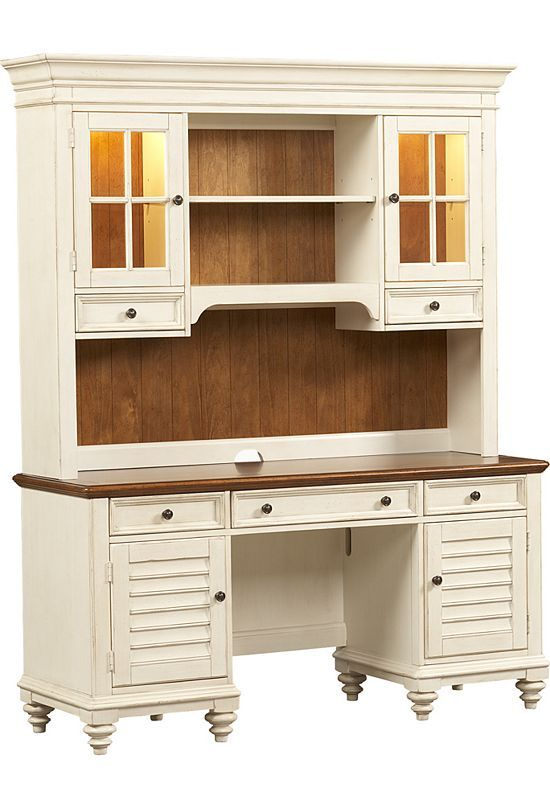 High Quality Home Offices, Southport Credenza/Hutch   Distressed White, Home Offices |  Havertys Furniture