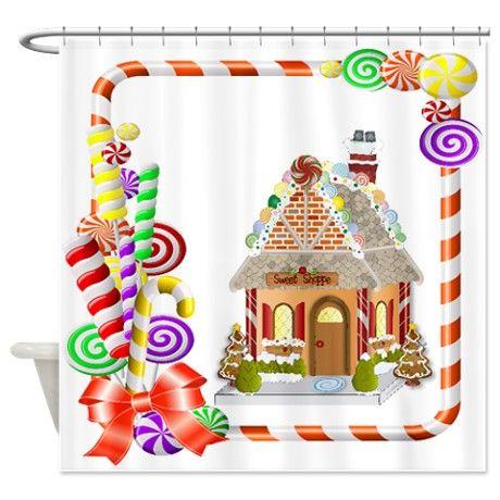 Gingerbread Christmas Shower Curtain Christmasshowercurtainglam