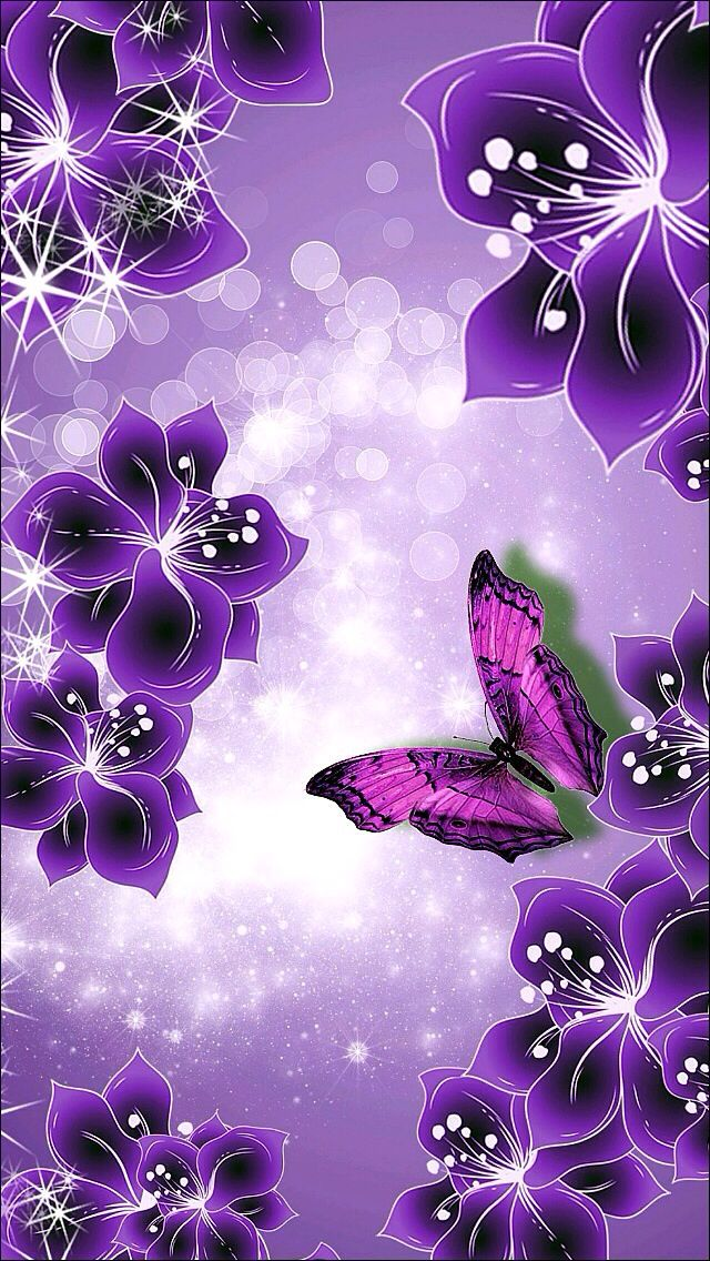 Purple and Blake flowers border Butterfly wallpaper
