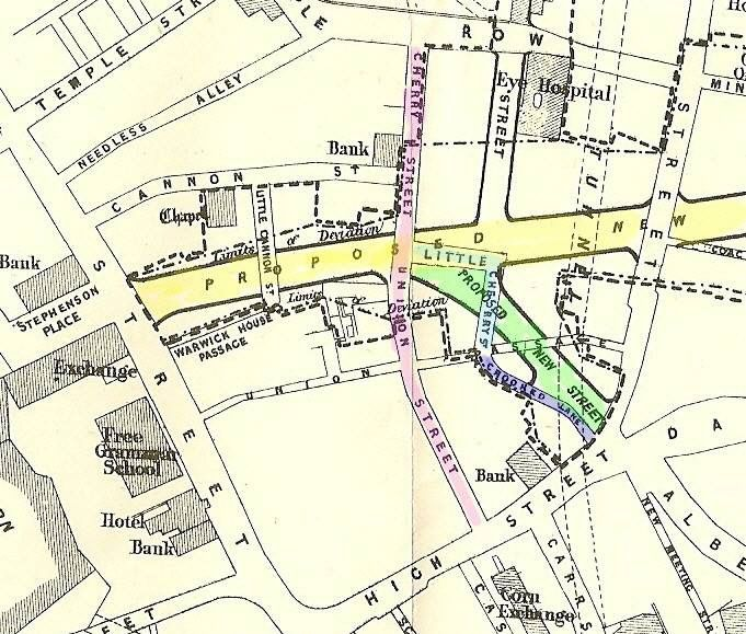 a very old map of the streets of birmingham uk