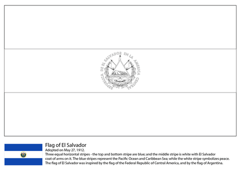 Flag Of El Salvador Coloring Page