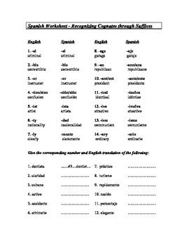 Spanish English Cognates Handout Worksheet Cognados Sub Plan Cognates Spanish English Vocabulary Word Worksheet Spanish english cognates worksheet
