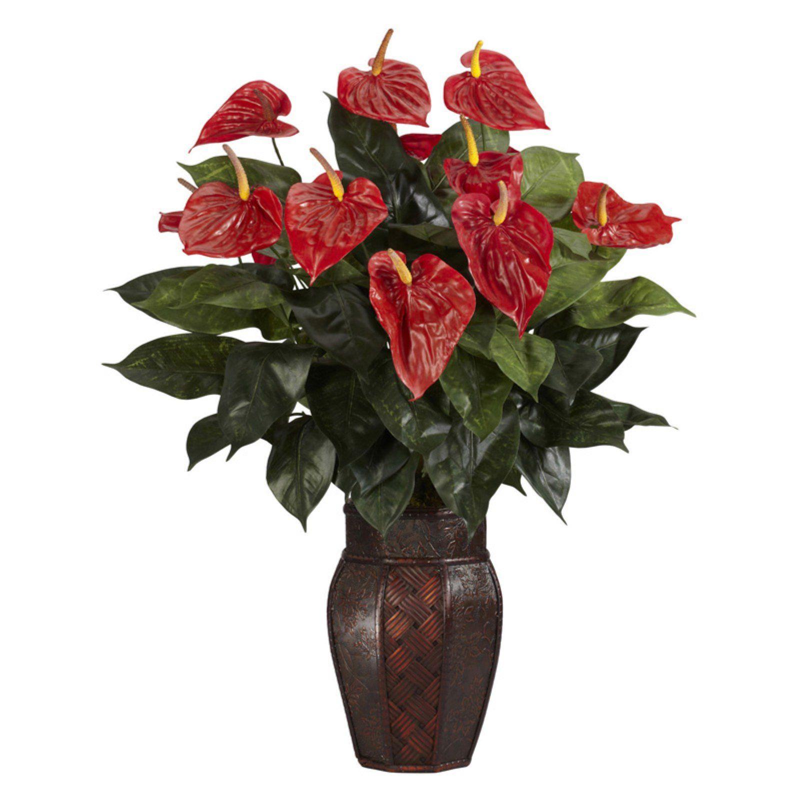 Anthurium With Vase Silk Plant Silk Plants Anthurium Plant Artificial Plant Arrangements