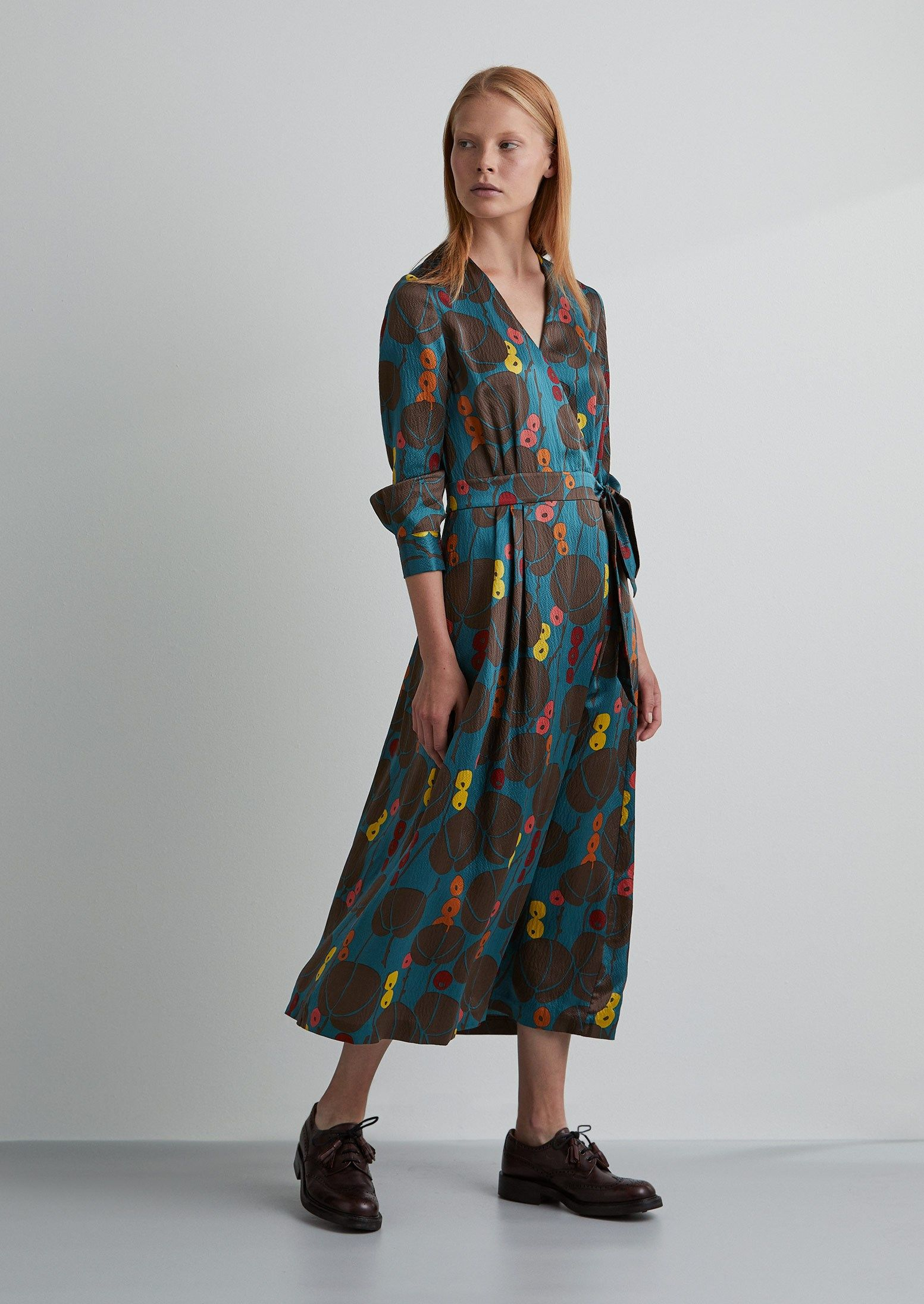 655663c8b5b9 Berry Print Silk Cotton Wrap Dress