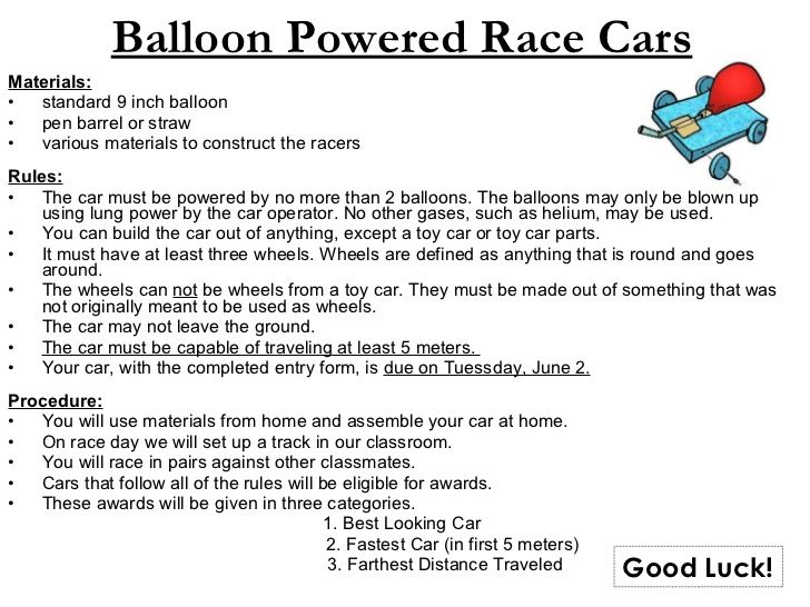 Balloon Powered Race Car Rubric Google Search