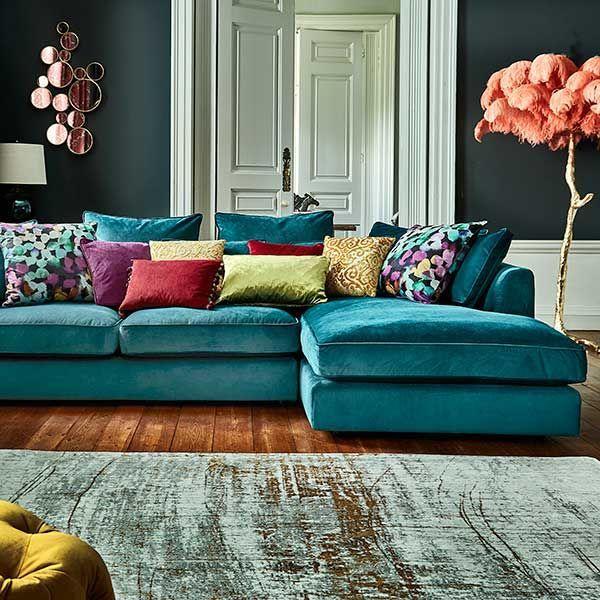 Harrington Large Chaise Velvet Sofa Rhf Barker Stonehouse Corner Sofa Living Room Living Room Turquoise Living Room Colors