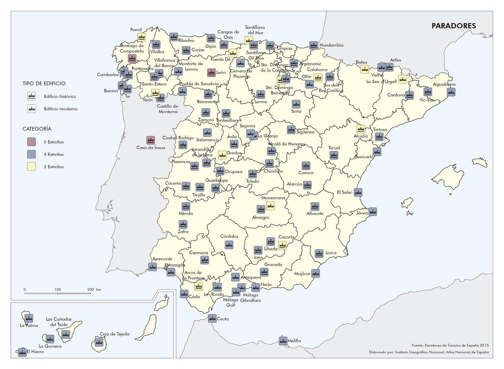 Paradores En Espana Mapa De Espana Turistico Turismo