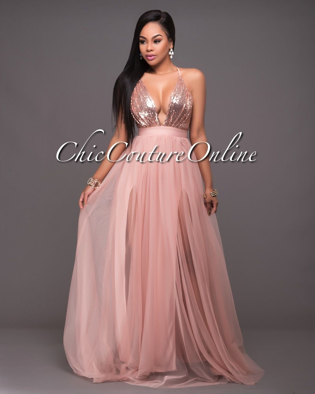 50dc0c18a20 Paloma Blush Tulle Rose Gold Sequins Maxi Dress