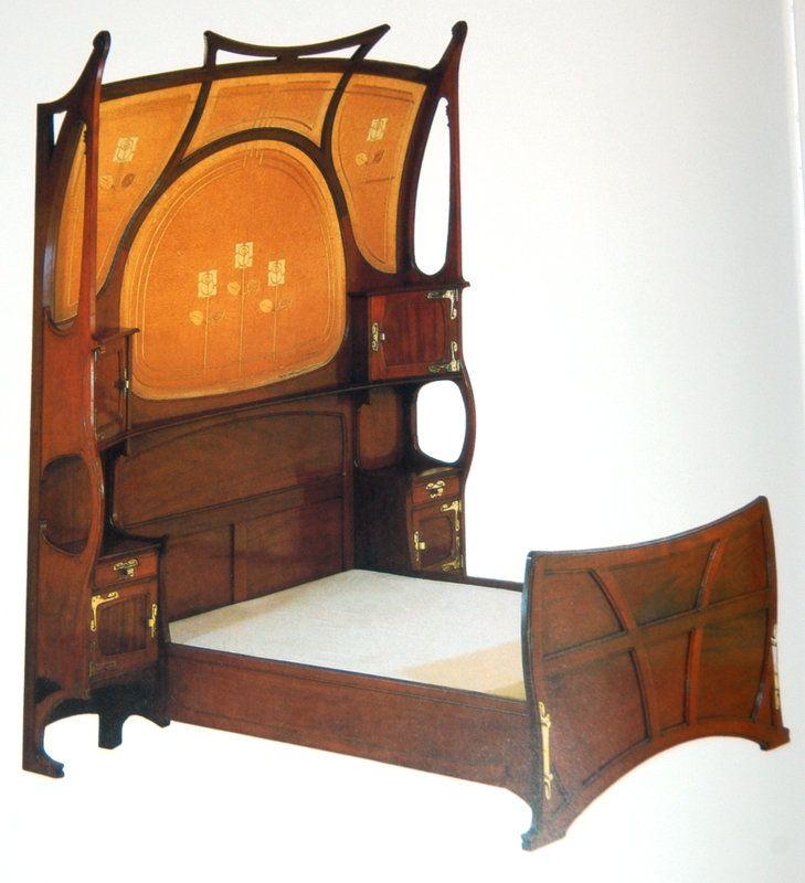 Art nouveau bed art noveau pinterest muebles for Decoracion art nouveau