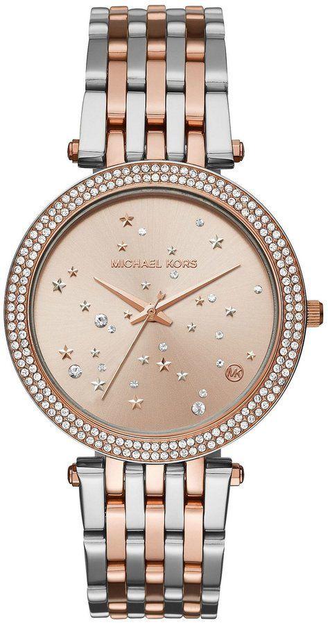 03583b4de2ce Michael Kors Darci Two-Tone Celestial Analog Bracelet Watch ...