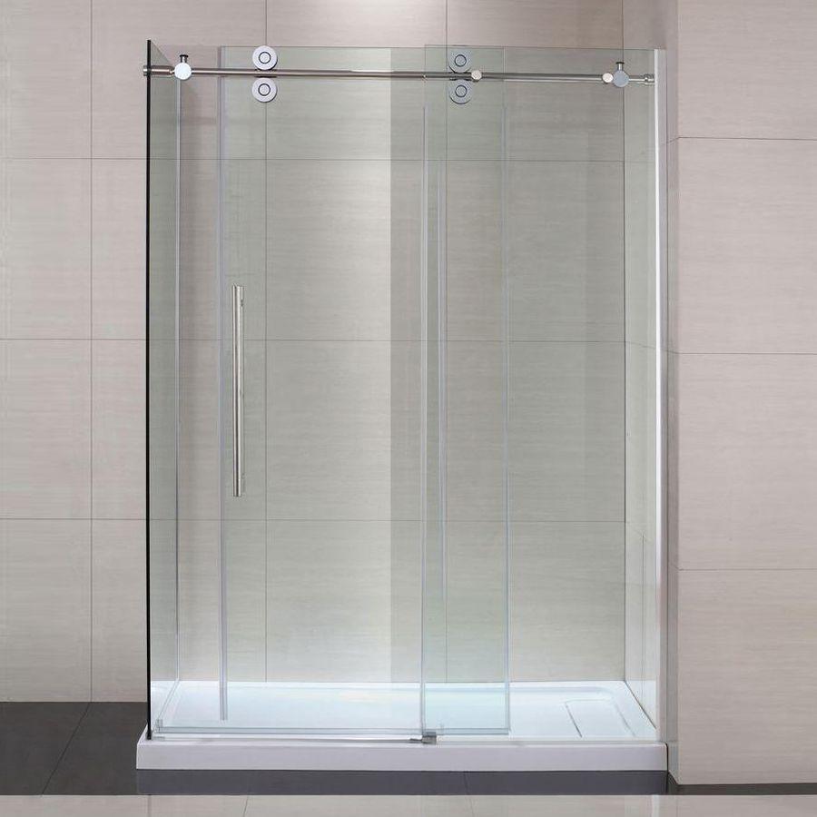 Schon Sc70019 Lindsay Frameless Sliding Glass Shower Door Atg Stores Glass Shower Doors Shower Sliding Glass Door Framed Shower Enclosures