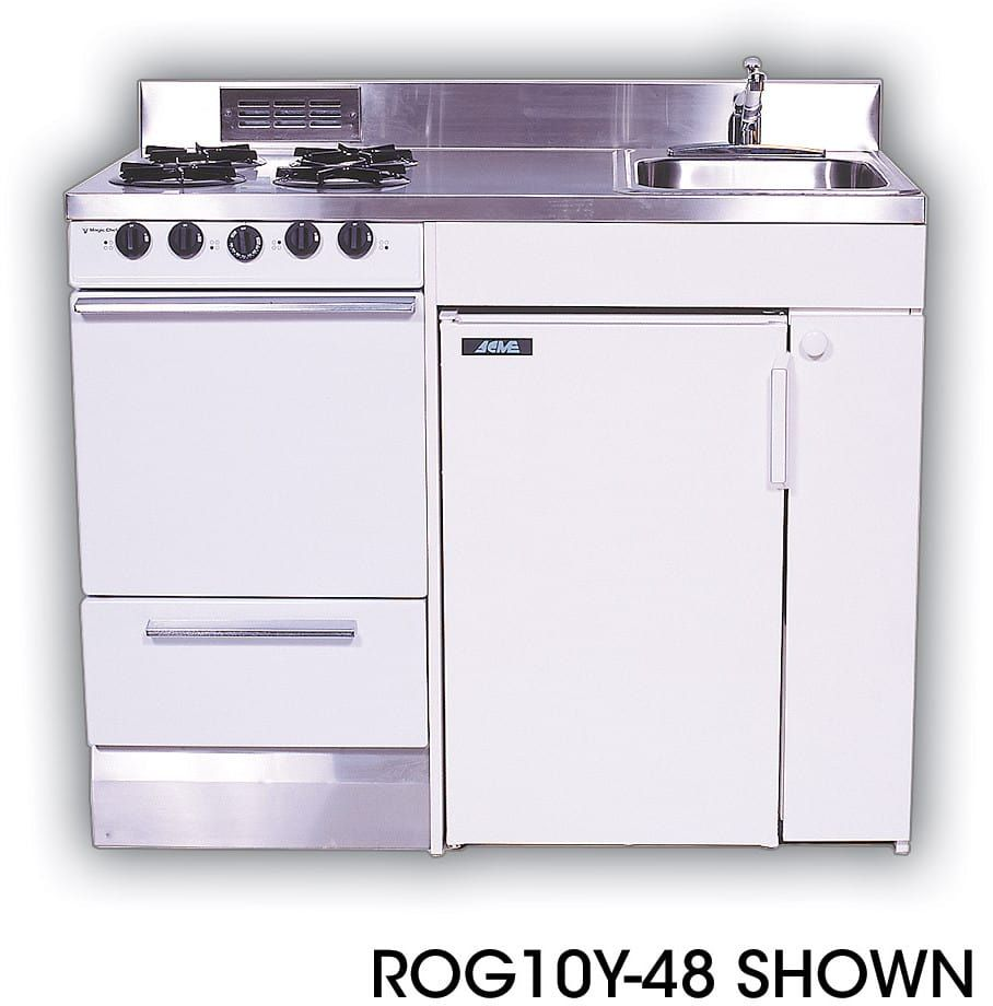 Acme rogy compact kitchen with stainless steel countertop gas
