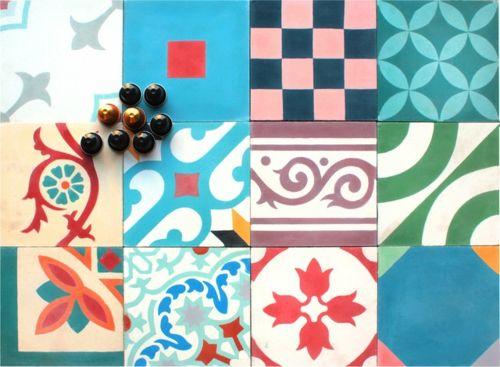 Patchwork Fliesen Designs Muster Bunt Originell Quadratisch