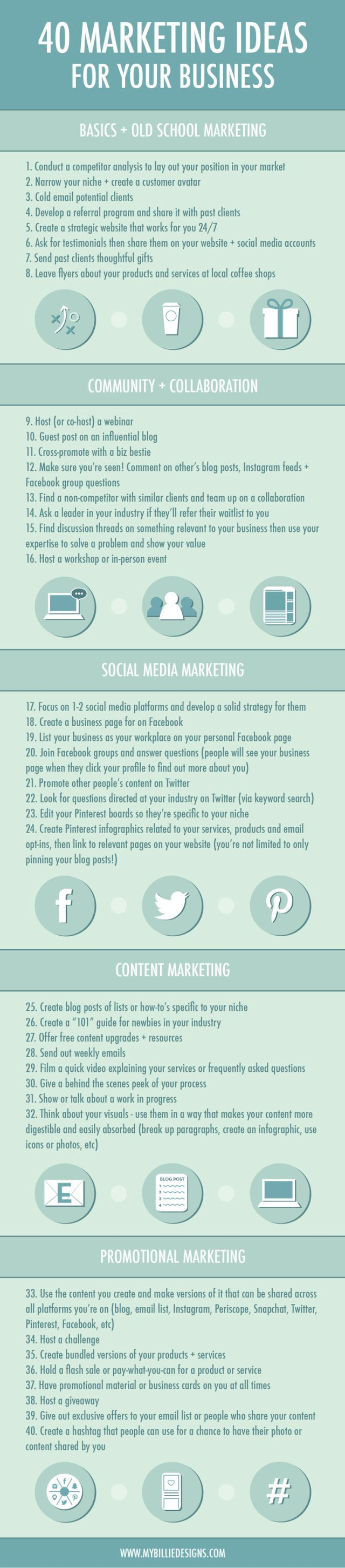 40 marketing ideas for your small business infographic marketing
