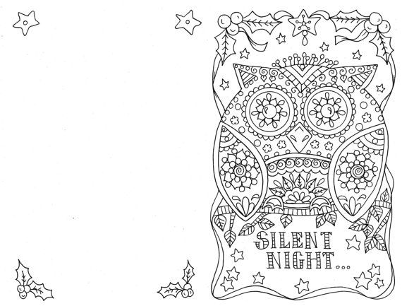 4 Cards to Color Owl Christmas Cards You be the Artist