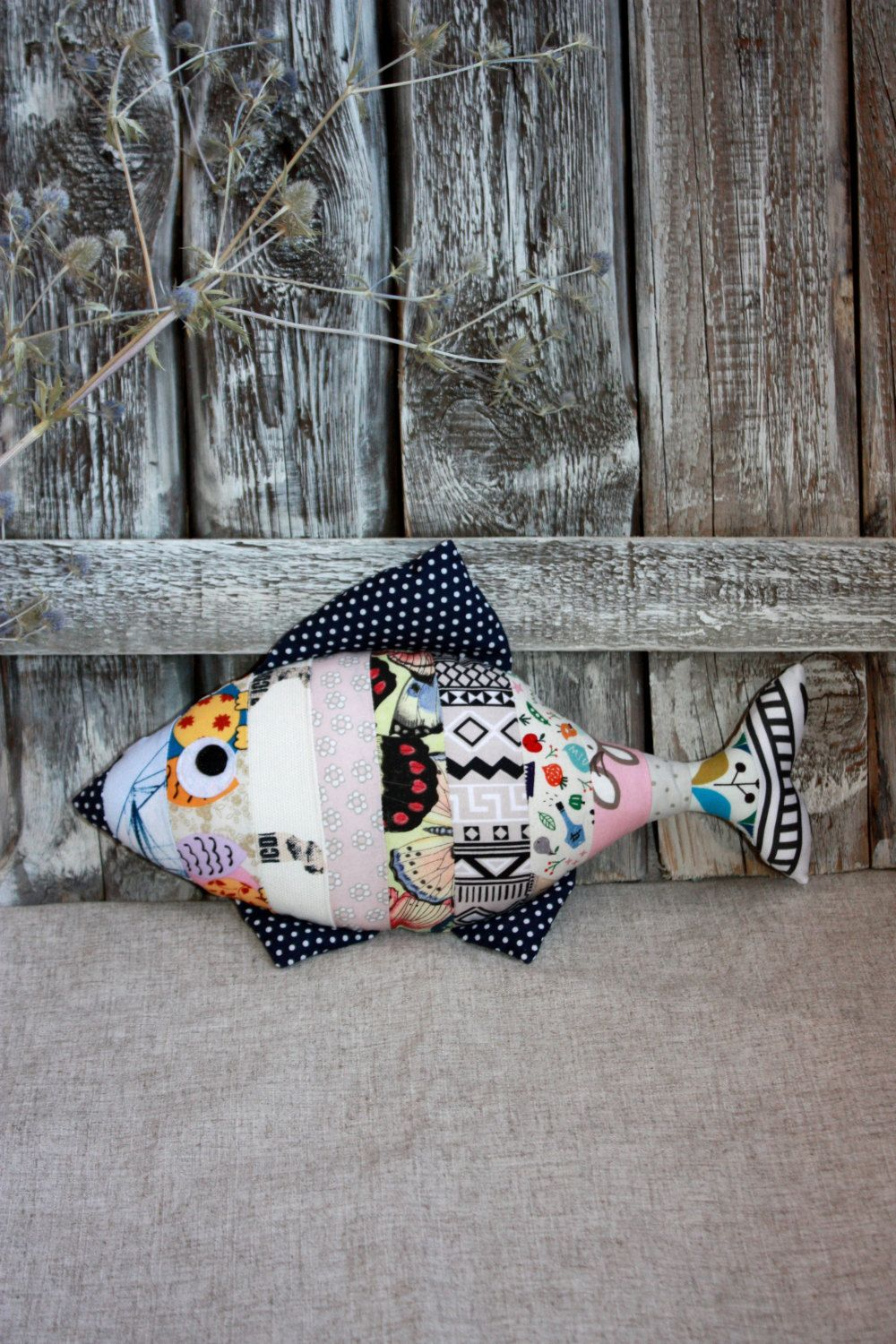 Stuffed Fish Decorative Pillow Multicolor Striped Catriona Monique Top Handle Bag Grey Toy Cotton Pinned By Pin4etsycom