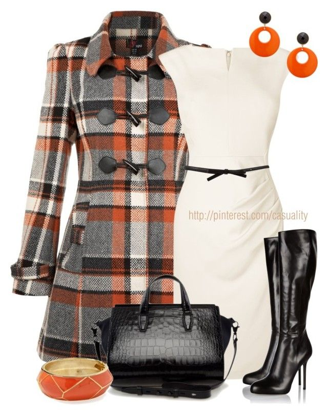 Yumi Check Duffle Coat & Leather Boots