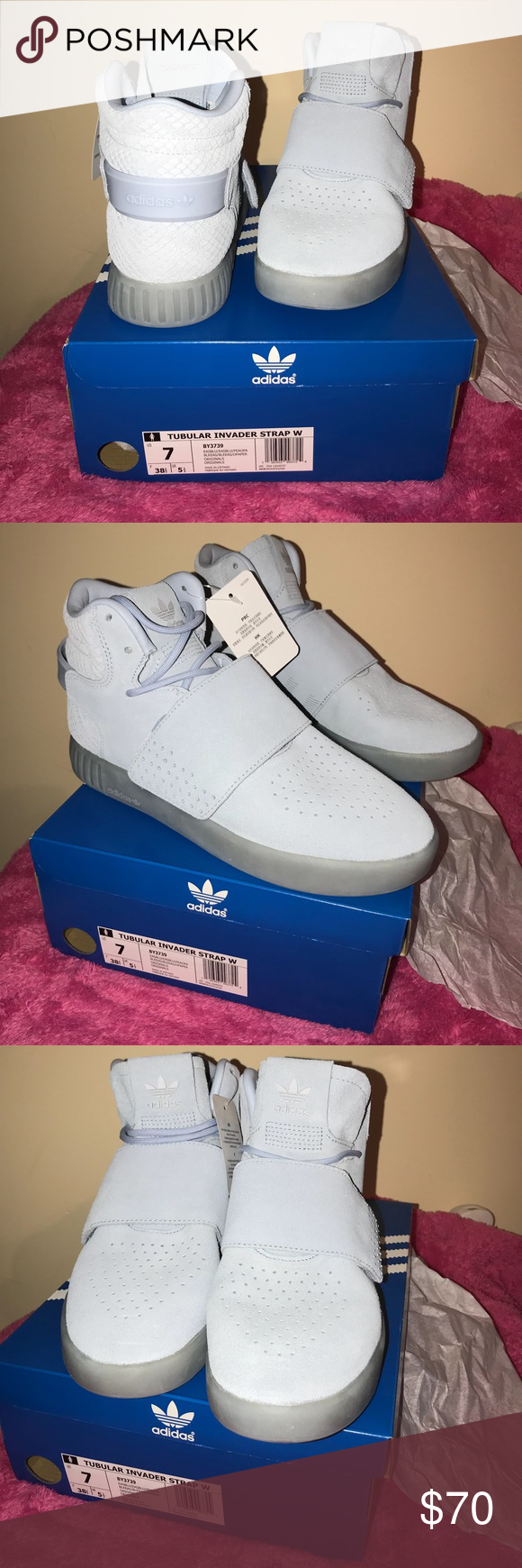 Adidas Tubular Invader Strap Women Sneakers Women s 🚺 Adidas Suede Light  Blue Strap Sneakers W  Snake skin pattern NWT - (New With Tags) Size  US•7  F• 38 ... db13f89b3