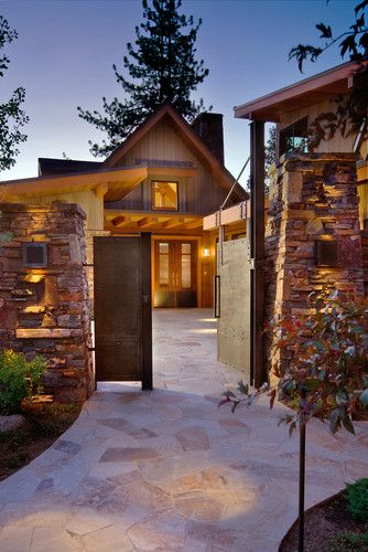 Between The House And Garage Courtyard Entry Entry Design Rustic Entry