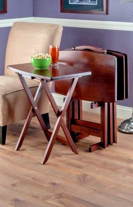 TV Trays With Stand Folding Wooden Set of 4 Snack Tables Puzzles ...