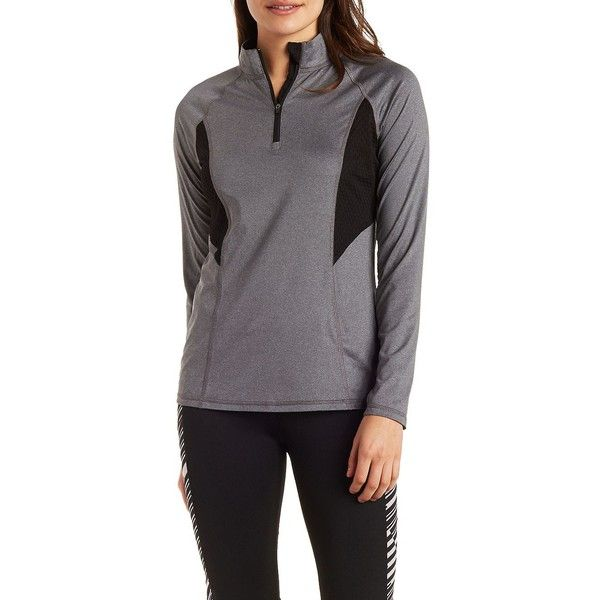 Charlotte Russe Half-Zip Long Sleeve Active Top with Mesh Panels ($20) ❤ liked on Polyvore featuring activewear, activewear tops, charcoal, mesh shirt, zipper shirt, zip shirt, longsleeve shirt and panel shirt