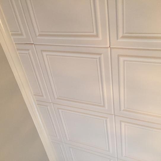 A La Maison Ceilings Line Art 1 6 Ft X Foam Glue Up Ceiling Tile In Plain White 21 Sq Case R24pw 8 At The Home Depot Mobile