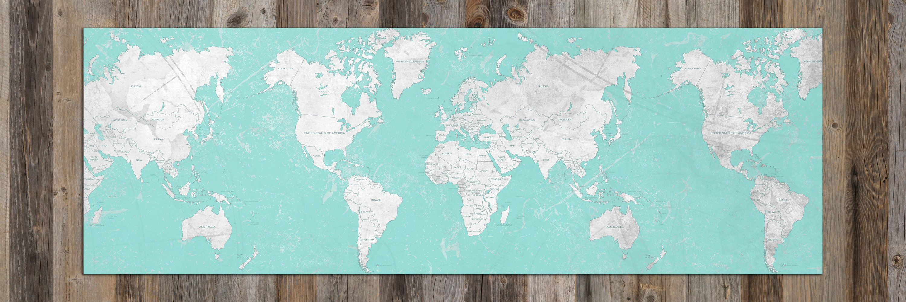 World map canvas print panoramic world map horizontal large wall art world map canvas print panoramic world map horizontal large wall art vintage map blue cyan turquoise oversized travel map wall art poster gumiabroncs Image collections