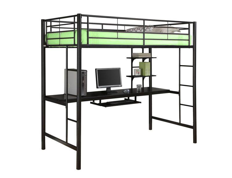 Walker Edison Black Metal Twin Loft Bed With Workstation Bedroom