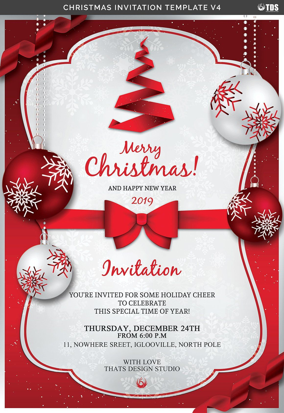 Christmas Invitation Template V4 Christmas Party Invitation Template Free Christmas Invitation Templates Christmas Invitations Template