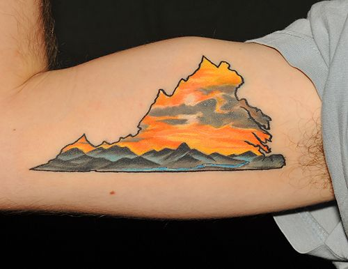 Va mountain scene by graham fisher of hot rod tattoo in for State outline tattoo