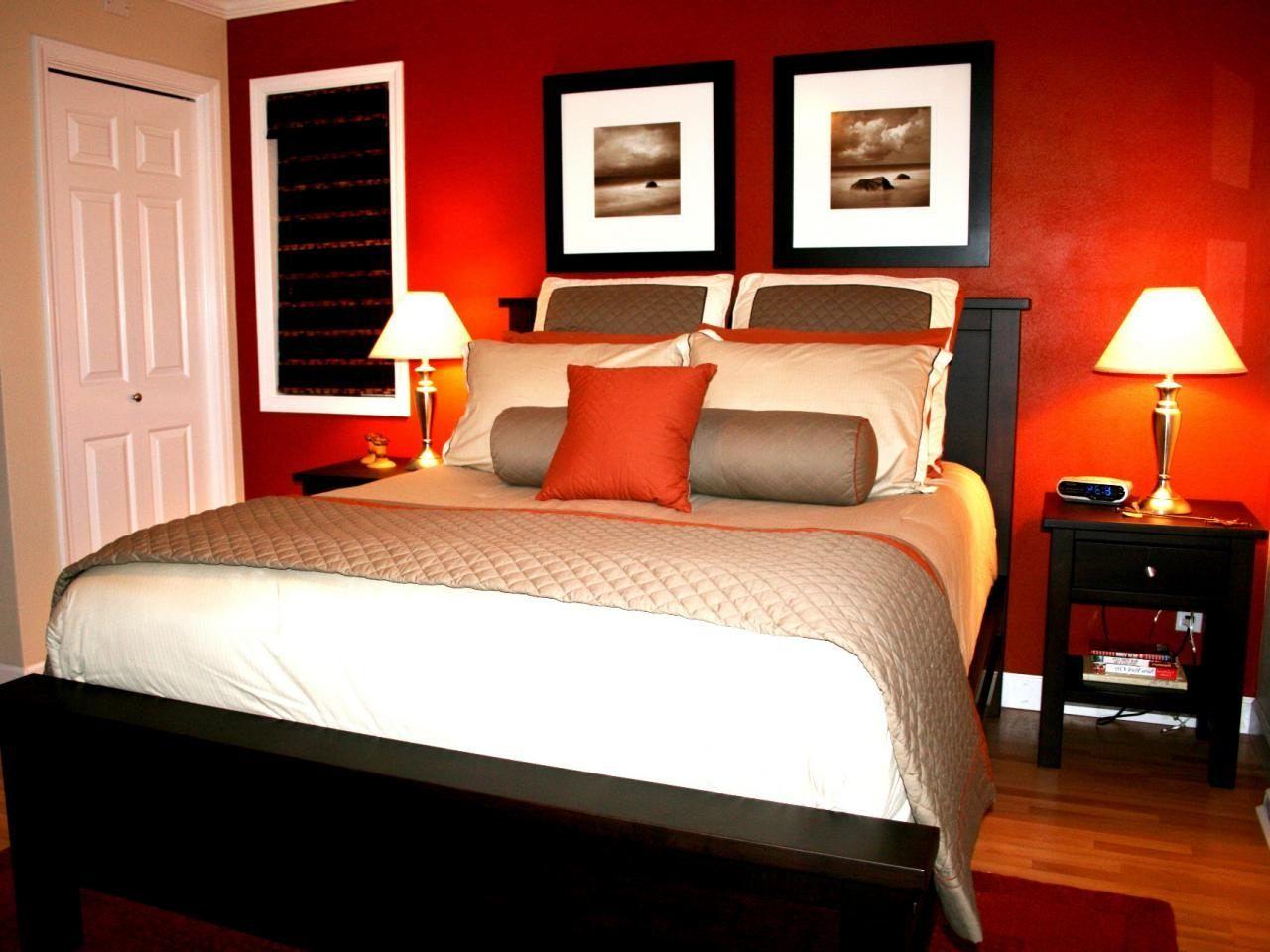 Romantisches Schlafzimmer Stab Dekor Wände Orange Mit