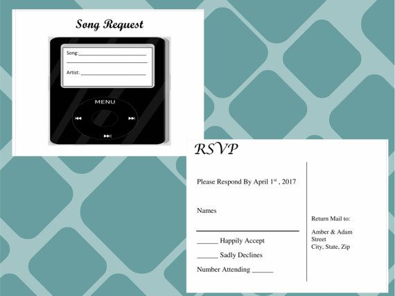Song Request Form And Rsvp Postcard All In One For Weddings Perfect Way To Get Your Responses Also Know What Type Of Music Guest Want Hear At