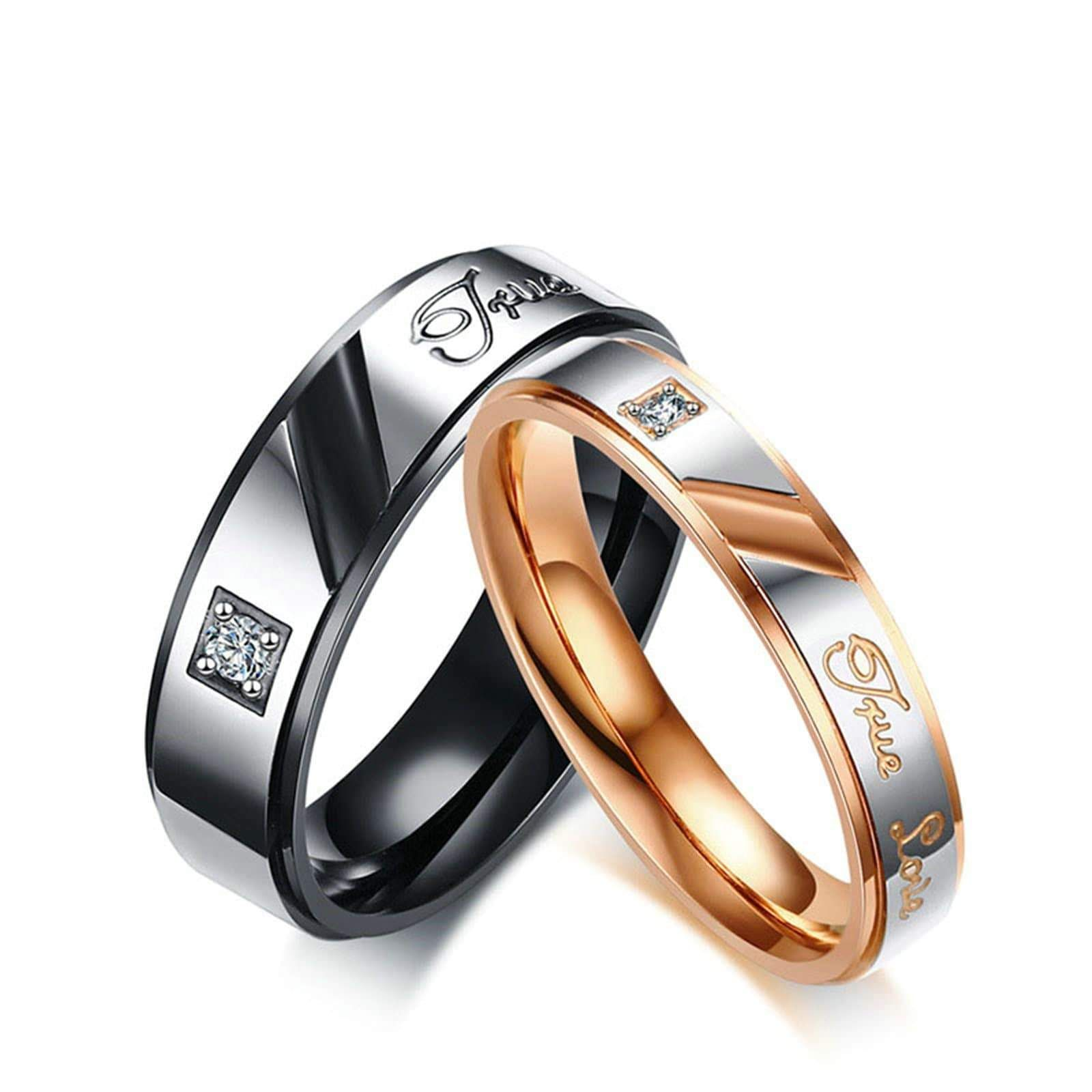 sz6-12 Couple Rings Titanium Black CZ Mens Ring Band Women/'s Wedding Ring Sets
