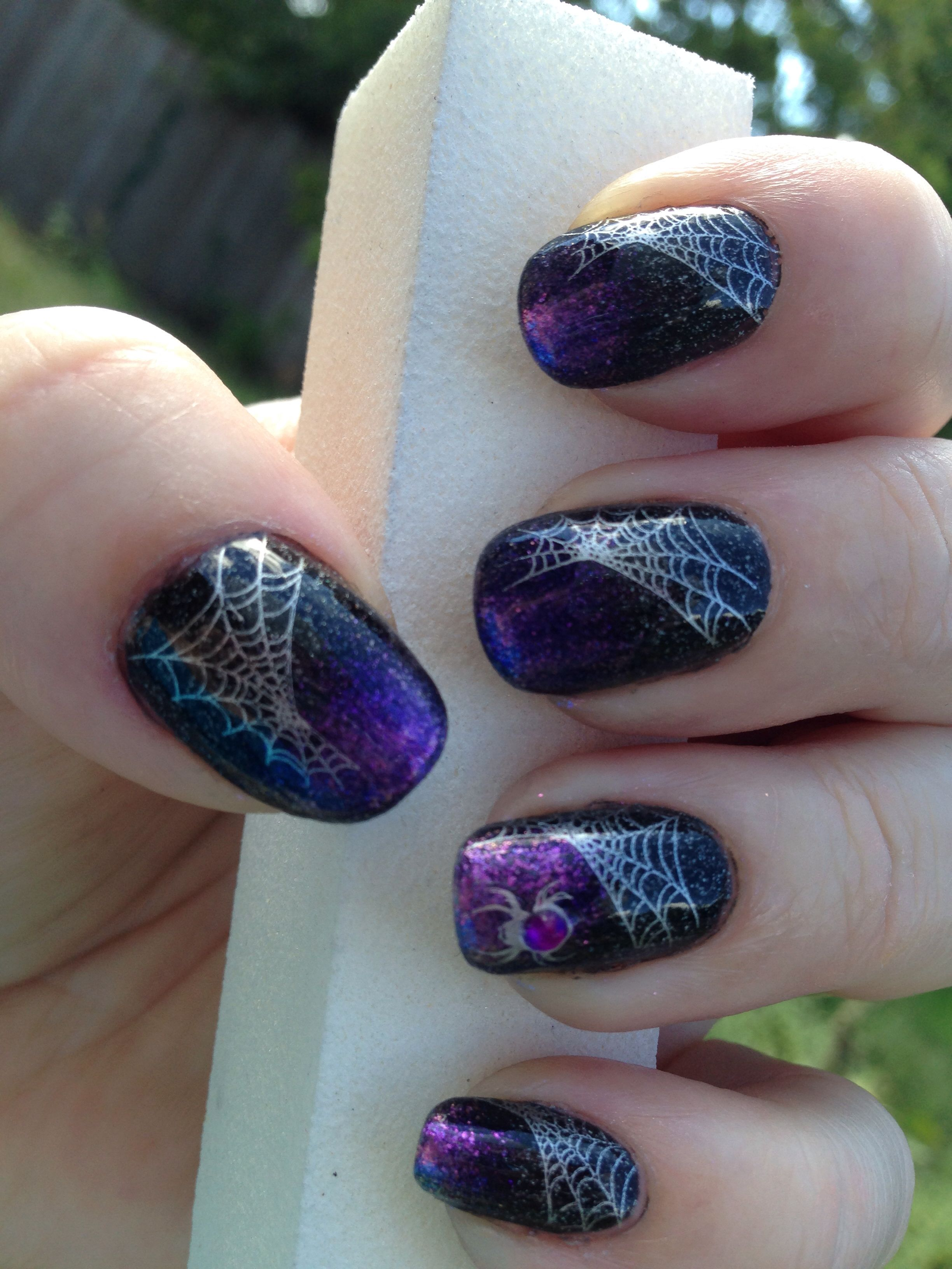 Purple and black spiderweb Halloween nails stamping nail ...