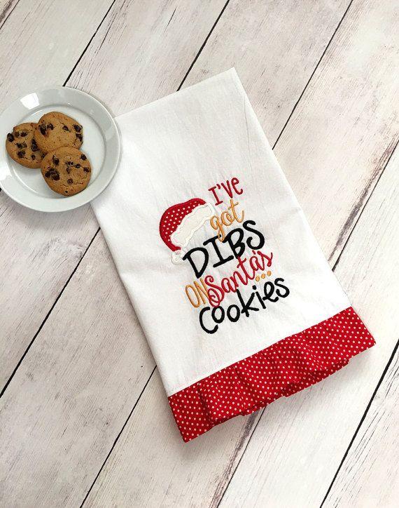 Christmas Flour Sack Towel  Christmas Towel  Santa by BoxofBobbins