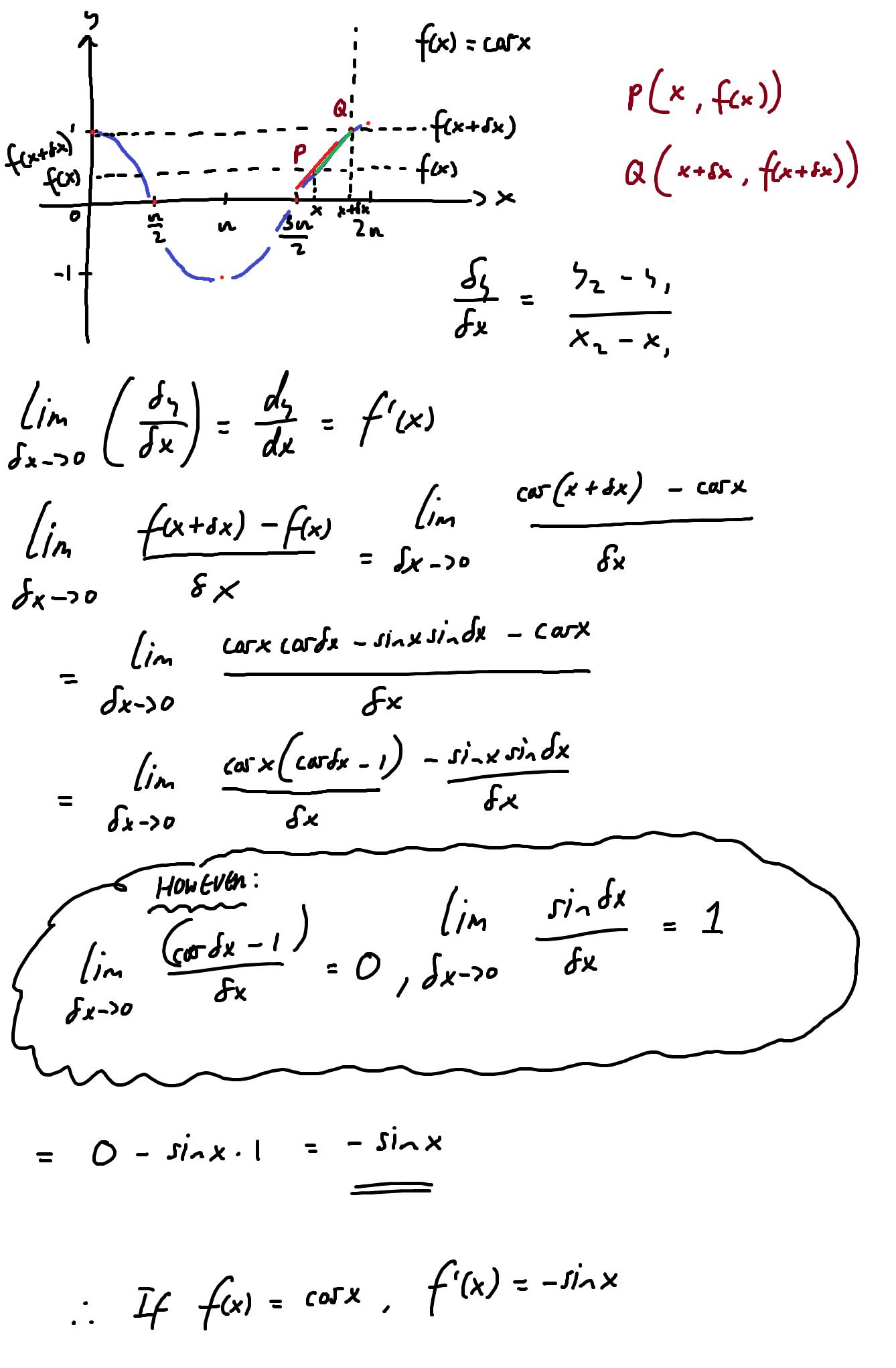 cosx derivative... Math, Formula, Derivative