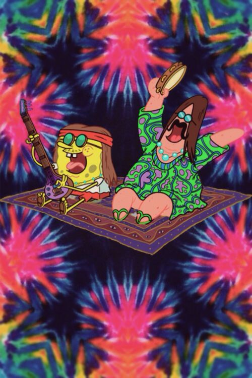 Wallpaper Backgrounds · Laughing my ass off right now. Hippy SpongeBob and Patrick. Hippie Background, Trippy