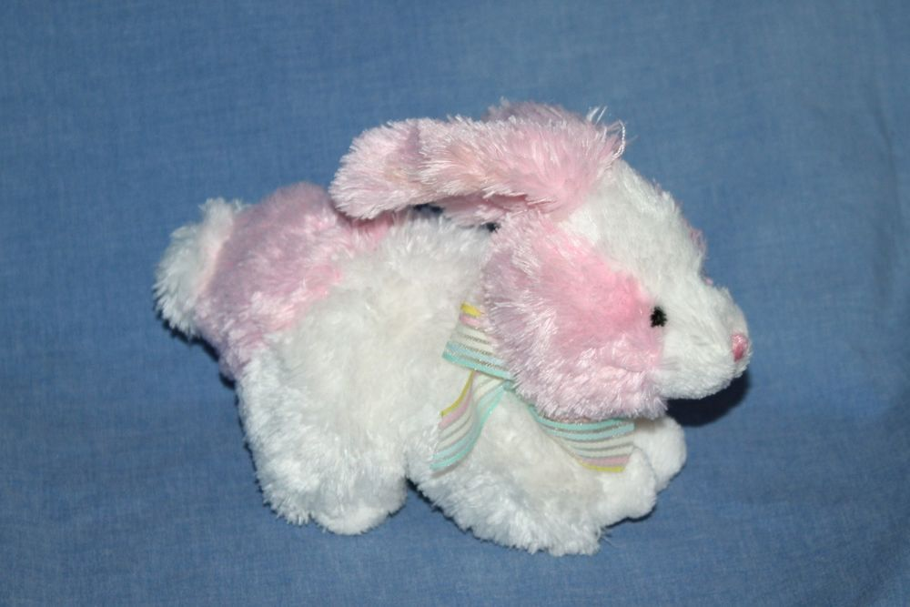 12521649c5d Ty Sorbet Beanie Baby Bunny Rabbit soft toy Pink White Retired Striped bow  7