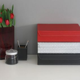File Boxes Decorative Home Office Ideas  Solid Colour And Geometric Designmagnetic