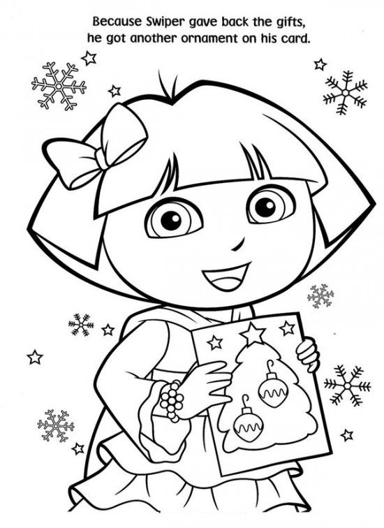free printable dora christmas coloring pages picture 24 550x756 picture - Printable Pictures Of Dora The Explorer