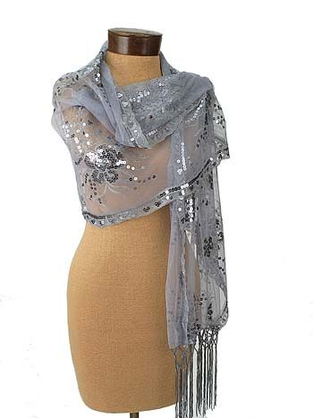 59ca42316fc Great for Chelsea  22.99 Silver Sequined Embroidered Evening Wrap Shawl