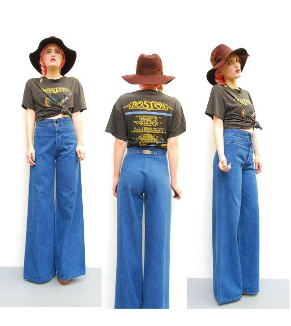 70s Levis Jeans - Denim Wide Leg Boho Trousers - High Waist Hippie ...