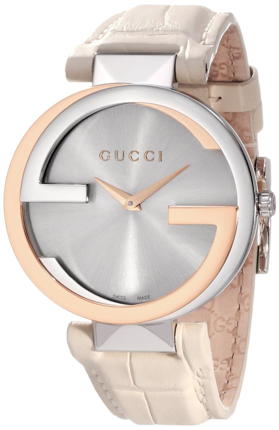 1ba4ffff74a77c Gucci Watch , Gucci Women's YA133303 Interlocking White Crocodile Pink Gold  and Steel Watch