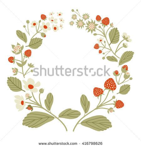 Photo of Strawberry Fruits Blossoms Wreath Illustration Stock Vector (Royalty Free) 416798626