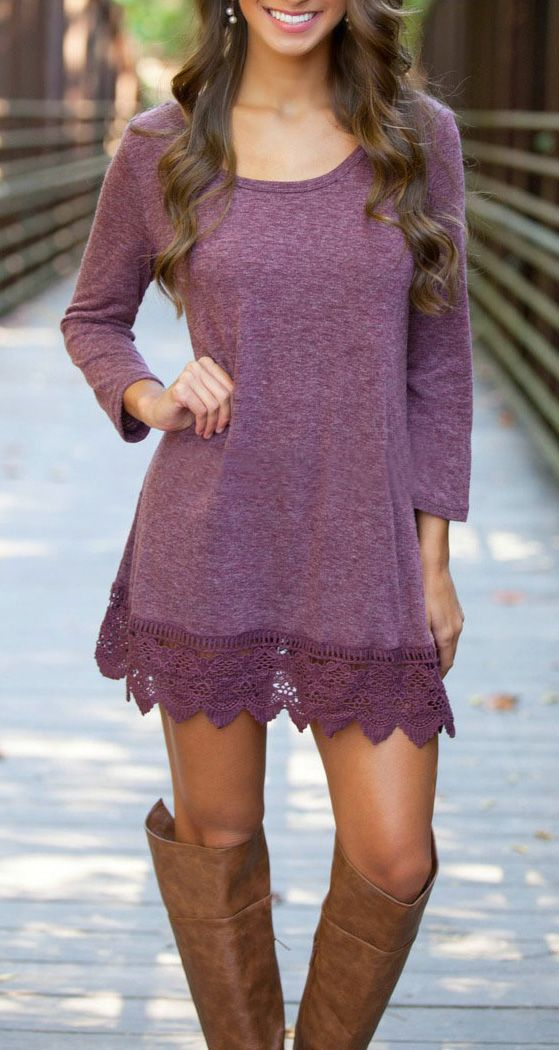 Lace Paneled Round Neck Stretch Cotton Dress | Pinterest | Vestidos ...