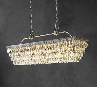 Clarissa Crystal Drop Rectangular Chandelier Rectangular Chandelier Farmhouse Dining Room Lighting Round Chandelier